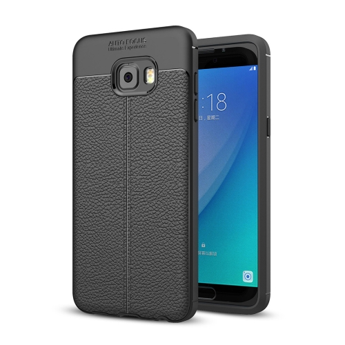 Buy For Samsung Galaxy C7 Pro Litchi Texture Design Soft TPU Anti-skip Protective Cover Back Case, Black for $2.28 in SUNSKY store