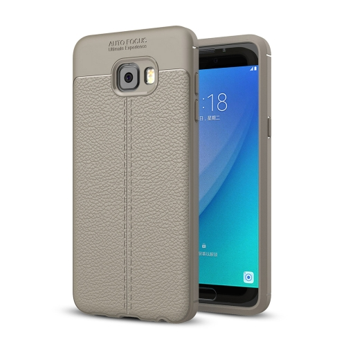 Buy For Samsung Galaxy C7 Pro Litchi Texture Design Soft TPU Anti-skip Protective Cover Back Case, Grey for $2.28 in SUNSKY store