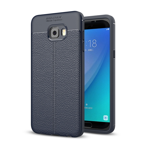 Buy For Samsung Galaxy C7 Pro Litchi Texture Design Soft TPU Anti-skip Protective Cover Back Case (Navy Blue) for $2.28 in SUNSKY store