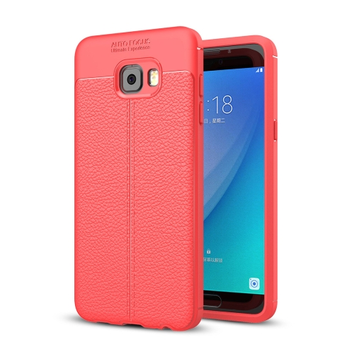 Buy For Samsung Galaxy C7 Pro Litchi Texture Design Soft TPU Anti-skip Protective Cover Back Case, Red for $2.28 in SUNSKY store