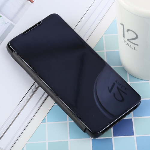 PU Electroplating Mirror Horizontal Flip Leather Case for Galaxy S10 Lite, with Holder (Black)