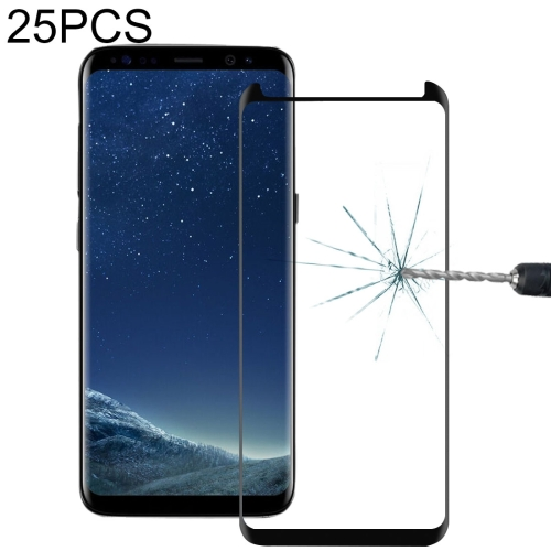 Color : Black zys ZHANGYUNSHENG 25 PCS Full Glue Full Screen Curved Case Friendly Tempered Glass Film for Galaxy S8 // G950 Black
