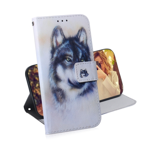 White Wolf Pattern Coloured Drawing Horizontal Flip Leather Case for Galaxy M10 / A10, with Holder & Card Slots & Wallet