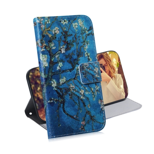 Apricot Flower Pattern Coloured Drawing Horizontal Flip Leather Case for Galaxy J6 Plus, with Holder & Card Slots & Wallet
