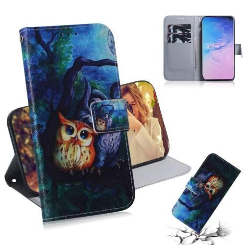 Oil Painting Owl Pattern Coloured Drawing Horizontal Flip Leather Case for Galaxy S10, with Holder & Card Slots & Wallet