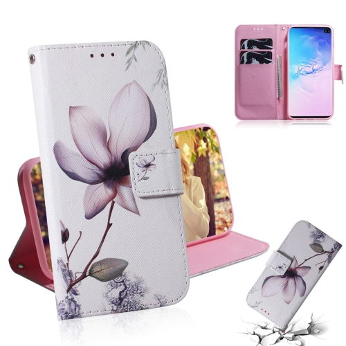 Magnolia Flower Pattern Coloured Drawing Horizontal Flip Leather Case for Galaxy S10 Plus, with Holder & Card Slots & Wallet
