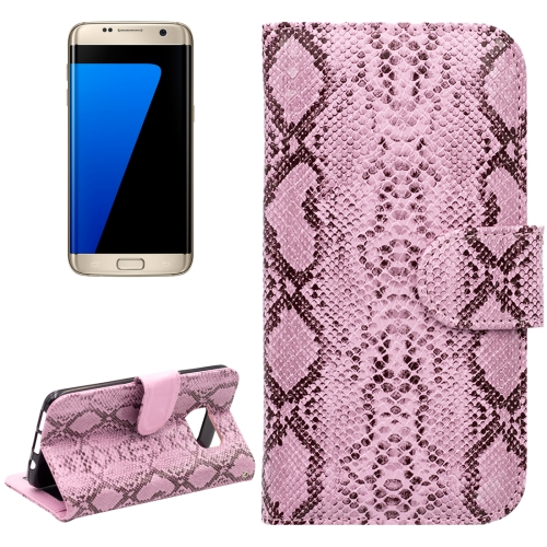 Buy For Samsung Galaxy S7 Edge / G935 Snakeskin Texture Horizontal Flip Leather Case with Wallet & Holder & Card Slots, Pink for $2.55 in SUNSKY store