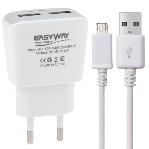2-Ports 5V 2.4A High Compatibility USB Quick Charger with Micro USB Data Charging Cable, EU Plug, For Samsung / Huawei / Xiaomi / Meizu / LG / HTC and Other Smartphones(White)