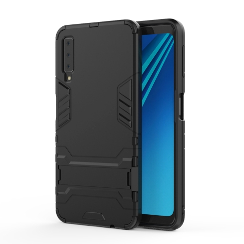 Shockproof PC + TPU Case for Galaxy A7 (2018), with Holder(Black)