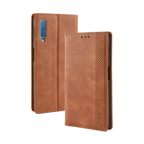 Magnetic Buckle Retro Texture Horizontal Flip Leather Case for Galaxy A7 (2018), with Holder & Card Slots & Wallet (Brown)