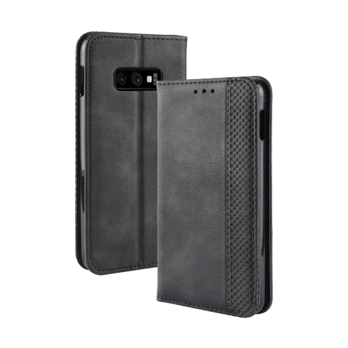 Magnetic Buckle Retro Texture Horizontal Flip Leather Case for Galaxy S10 Lite, with Holder & Card Slots & Wallet (Black)