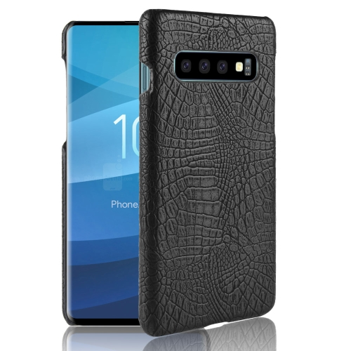 Shockproof Crocodile Texture PC + PU Case for Galaxy S10 (Black)