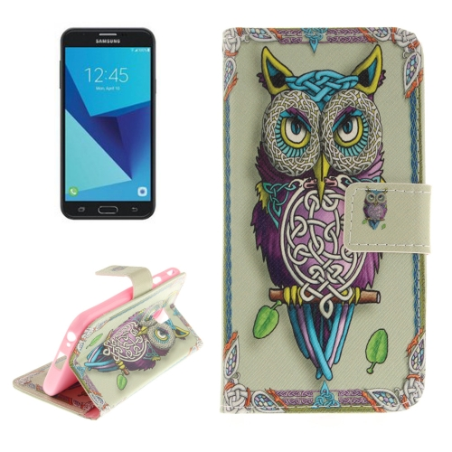 For Samsung Galaxy J7, 2017 (EU Version) Owl Pattern Horizontal Flip Leather Case with Holder & Card Slots & Wallet