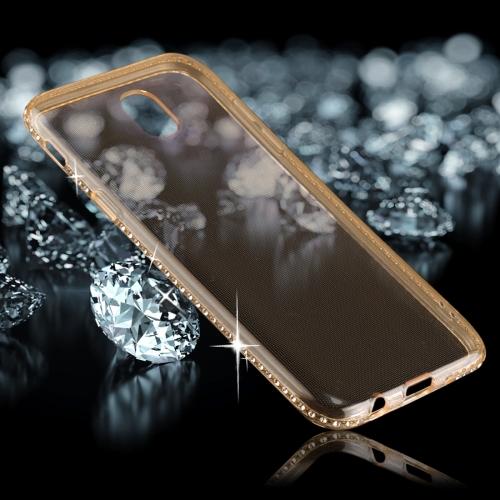 For Samsung Galaxy J3, 2017 (EU Version) Diamond Border TPU Transparent Protective Back Cover Case, Gold