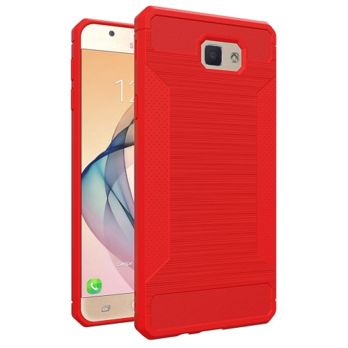 Buy For Samsung Galaxy J7 Prime Brushed Texture TPU Anti-slip Soft Protective Case, Red for $1.87 in SUNSKY store