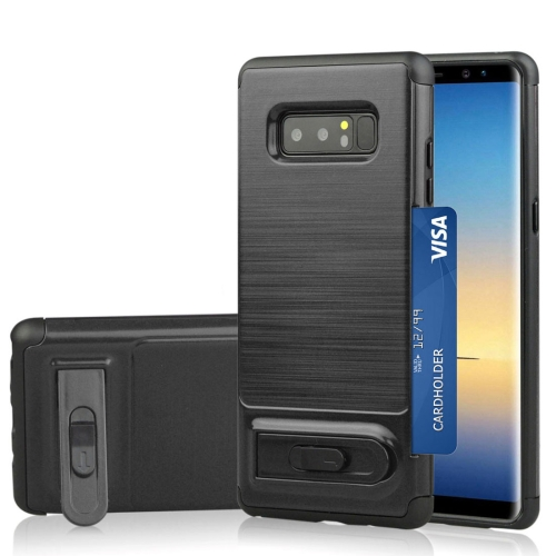 For Galaxy Note 8 Brushed Texture TPU+PC Protective Back Case with Holder & Card Slot (Black) brushed case phone holder with card slot for google pixel xl blue
