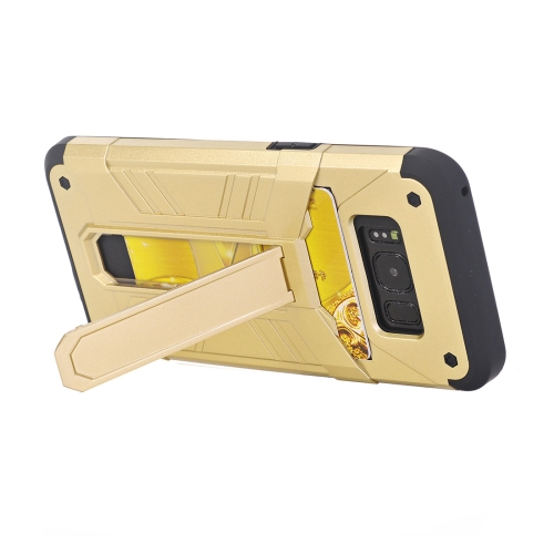 Buy For Samsung Galaxy S8 TPU + PC Shockproof Protective Back Cover Case with Holder & Card Slots, Gold for $2.17 in SUNSKY store