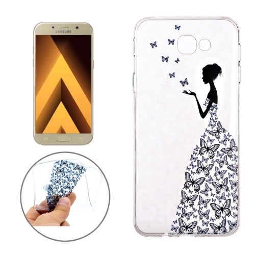 For Samsung Galaxy A3, 2017 / A320 Butterfly and Girl Pattern Soft TPU Protective Back Cover Case