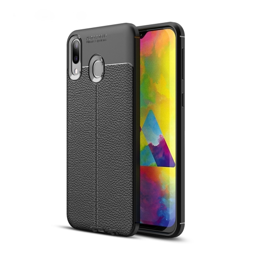 Litchi Texture TPU Shockproof Case for Galaxy M20(Black)