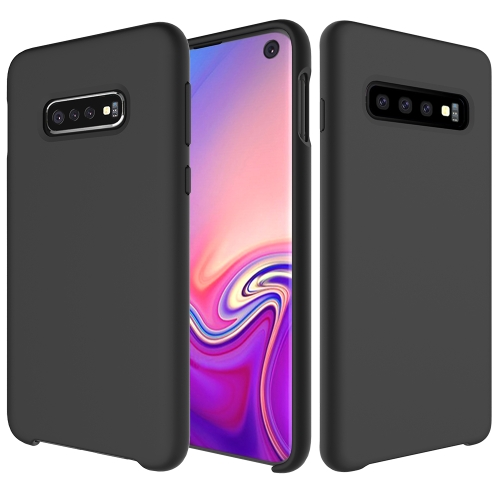 Shockproof Solid Color Liquid Silicone Case for Galaxy S10 (Black)