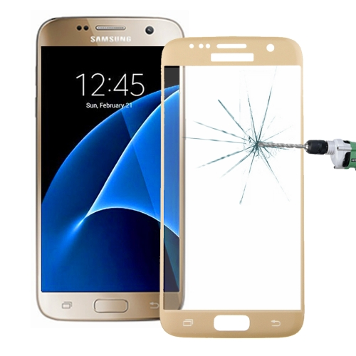 For Galaxy S7 / G930 0.26mm 9H Surface Hardness 3D Explosion-proof Colorized Silk-screen Tempered Glass Full Screen Film(Gold) фото