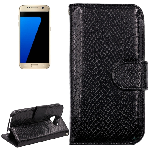 Buy For Samsung Galaxy S7 / G930 Snakeskin Texture Horizontal Flip Leather Case with Wallet & Holder & Card Slots, Black for $2.59 in SUNSKY store