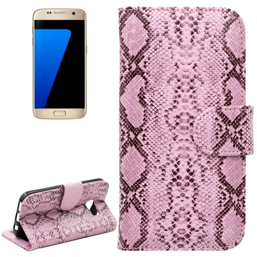 For Samsung Galaxy S7 / G930 Snakeskin Texture Horizontal Flip Leather Case with Wallet & Holder & Card Slots, Pink