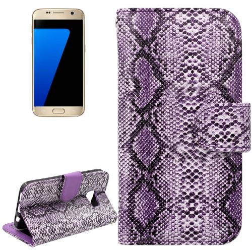 Buy For Samsung Galaxy S7 / G930 Snakeskin Texture Horizontal Flip Leather Case with Wallet & Holder & Card Slots, Purple for $2.59 in SUNSKY store