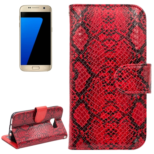 Buy For Samsung Galaxy S7 / G930 Snakeskin Texture Horizontal Flip Leather Case with Wallet & Holder & Card Slots, Red for $2.59 in SUNSKY store