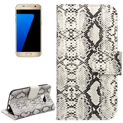 Buy For Samsung Galaxy S7 / G930 Snakeskin Texture Horizontal Flip Leather Case with Wallet & Holder & Card Slots, White for $2.59 in SUNSKY store