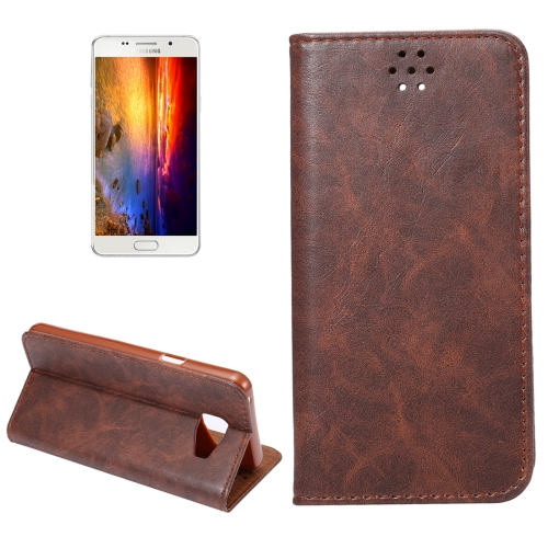 For Samsung Galaxy A5, 2016 / A510 Magnetic Crazy Horse Texture Horizontal Flip Leather Case with Holder & Card Slots, Coffee