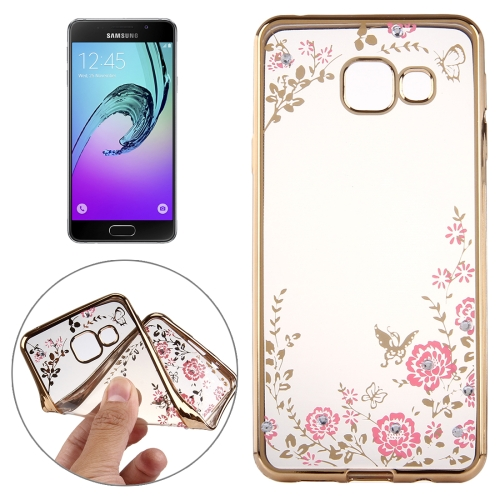 Buy For Samsung Galaxy A5, 2016 / A510 Flowers Patterns Electroplating Soft TPU Protective Cover Case, Gold for $1.46 in SUNSKY store