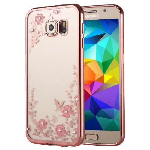 For Samsung Galaxy A7, 2016 / A710 Flowers Patterns Electroplating Soft TPU Protective Cover Case (Rose Gold)