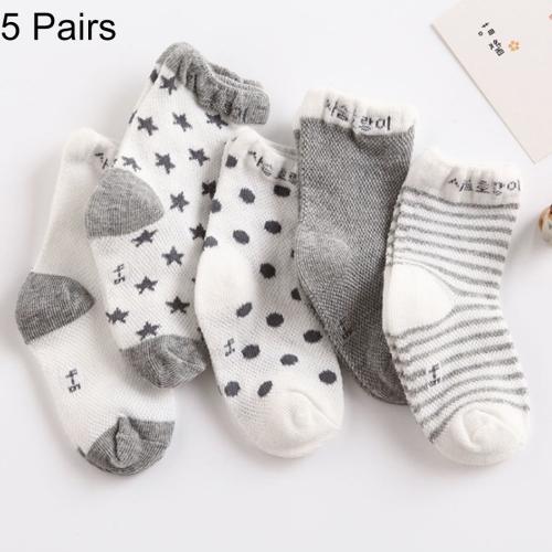 Buy 5 Pairs Summer Thin Children Cotton Socks Mesh Baby Socks, For Foot Length: 8 ~ 10cm (Light Gray) for $1.46 in SUNSKY store