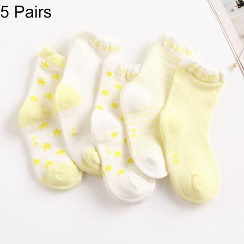 Buy 5 Pairs Summer Thin Children Cotton Socks Mesh Baby Socks, For Foot Length: 8 ~ 10cm (Light Yellow) for $1.47 in SUNSKY store