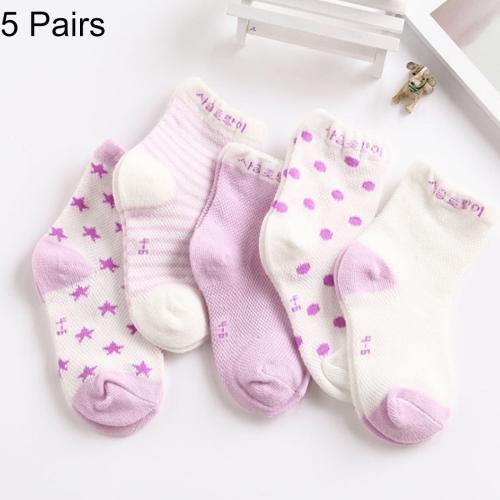 Buy 5 Pairs Summer Thin Children Cotton Socks Mesh Baby Socks, For Foot Length: 11 ~ 13cm (Light Purple) for $1.47 in SUNSKY store