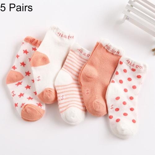 Buy 5 Pairs Summer Thin Children Cotton Socks Mesh Baby Socks, For Foot Length: 14 ~ 16cm (Light Orange) for $1.46 in SUNSKY store