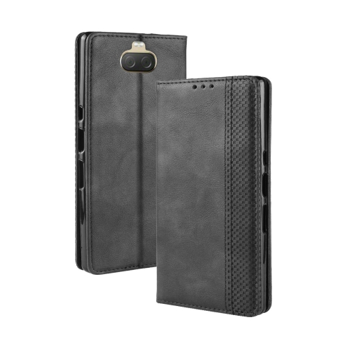 Magnetic Buckle Retro Texture Horizontal Flip Leather Case for Sony Xperia 10 Plus, with Holder & Card Slots & Wallet (Black)