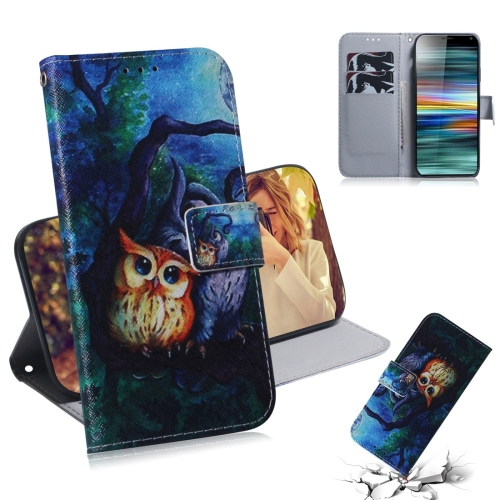 Oil Painting Owl Pattern Coloured Drawing Horizontal Flip Leather Case for Sony Xperia 10, with Holder & Card Slots & Wallet