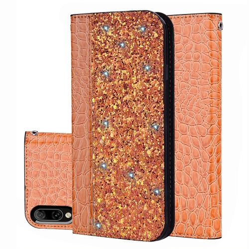 Crocodile Texture Glitter Powder Horizontal Flip Leather Case for Sony Xperia L3, with Card Slots & Holder (Orange)