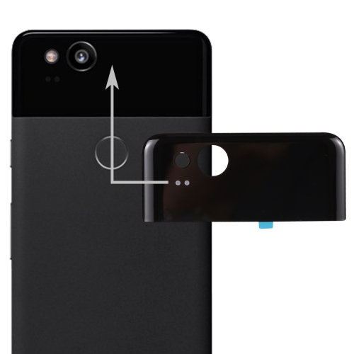 Google Pixel 2 Back Cover Top Glass Lens Cover (Black)