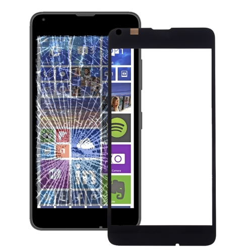 Front Screen Outer Glass Lens for Microsoft Lumia 640(Black)