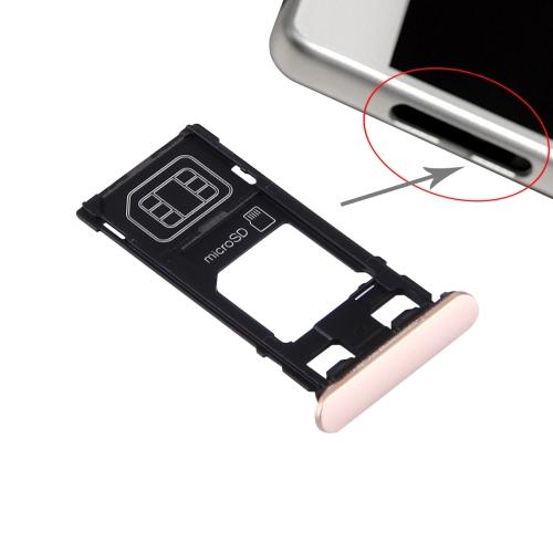 iPartsBuy for Sony Xperia X (Single SIM Version) SIM Card Tray + Micro SD Card Tray + Card Slot Port Dust Plug (Rose Gold)