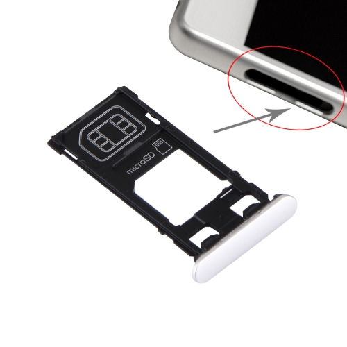 Buy iPartsBuy for Sony Xperia X (Single SIM Version) SIM Card Tray + Micro SD Card Tray + Card Slot Port Dust Plug, White for $2.66 in SUNSKY store