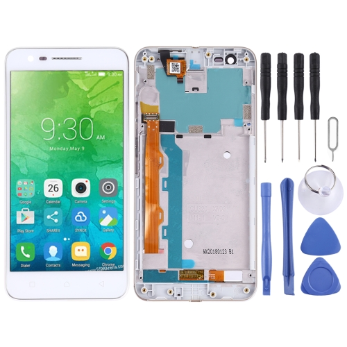 LCD Screen and Digitizer Full Assembly with Frame for Lenovo Vibe C2 K10A40 (White)
