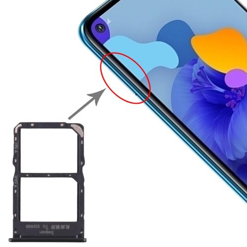 SIM Card Tray + NM Card Tray for Huawei Mate 30 Lite (Black)