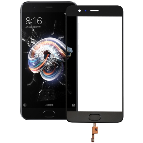 Front Screen Outer Glass Lens Support Fingerprint Identification for Xiaomi Mi Note 3(Black)