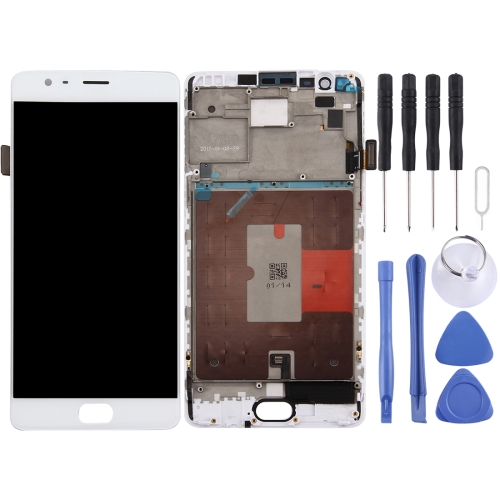 LCD Screen and Digitizer Full Assembly with Frame for OnePlus 3T(White)