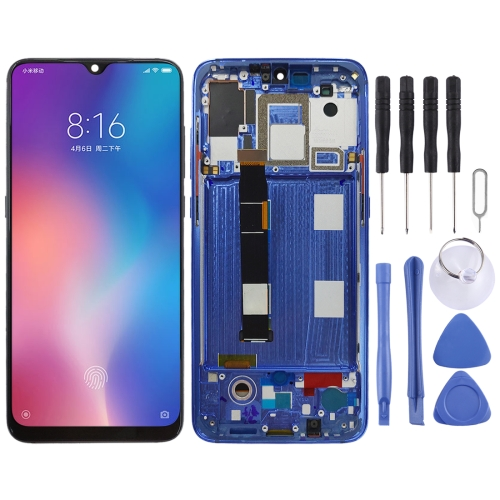 OLED Material LCD Screen and Digitizer Full Assembly with Frame for Xiaomi Mi 9(Blue)