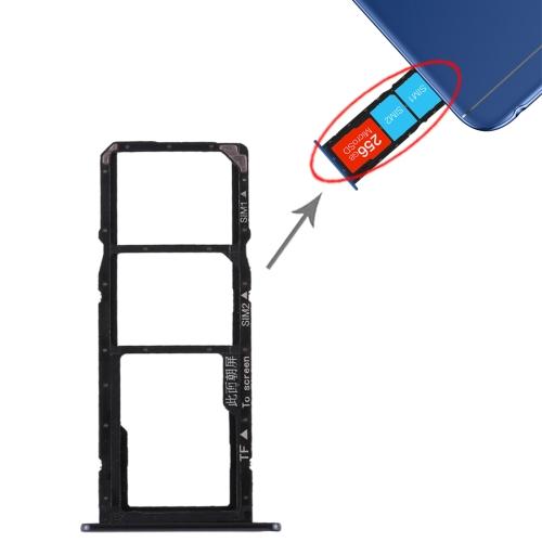 SIM Card Tray + SIM Card Tray + Micro SD Card for Huawei Honor 7A (Black)
